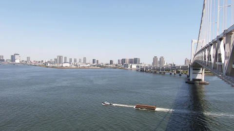 Tokyo city scenery. Tokyo Bay Bridge from Tokyo Bay Bridge Live Action