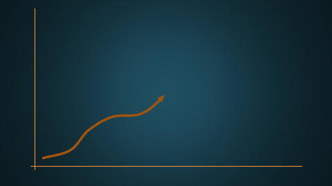 Rising graph of target and success in brown against a blue stepped gradient Animation