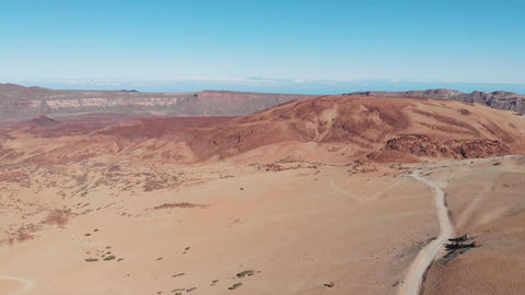 View from the drone on the Teide National Park, Tenerife Live Action