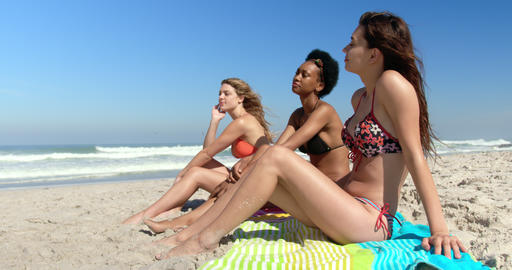 Young female friends sitting together at beach 4k Footage
