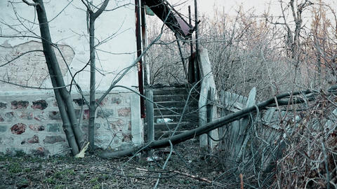 Stairs on the abandoned old house in the mountain Footage