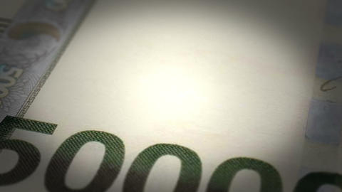 South Korean Won Close-up Stock Video Footage