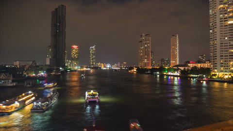 Time lapse, Cityscape view of Chao Phraya River at night 2 Footage