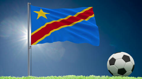 Congo DR flag fluttering and football rolls Animation