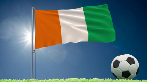 Cote dIvoire - Ivory Coast flag and football rolls Animation