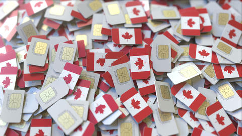 SIM cards with flag of Canada. Canadian cellular network related conceptual 3D ビデオ