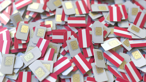 Many SIM cards with flag of Austria, Austrian mobile telecommunications related ビデオ