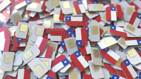 Many SIM cards with flag of Chile, Chilean mobile telecommunications related 3D ビデオ
