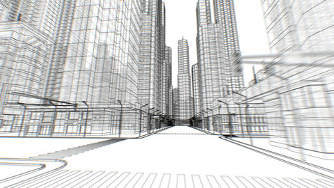 Digital Empty Streets in Abstract City Moving Through Seamless Digital 3d Footage