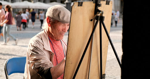 Skillful Artist Drawing On The Street In Madrid Spain Live Action
