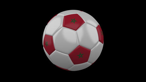 Soccer ball with flag Morocco loop 4k with alpha Animation