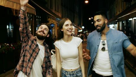 Young People Having Fun at Night Street Footage