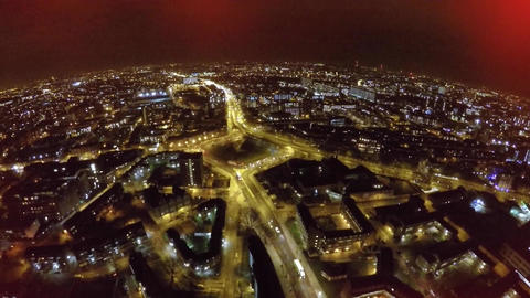 Flying over Bricklayers Arms roundabout at night Footage