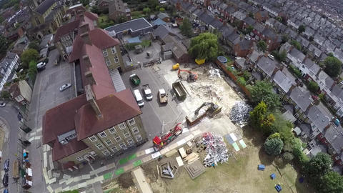 Demolition works from the bird's view Live Action