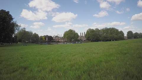 Aerial view of Greenwich park with London City in background Live Action