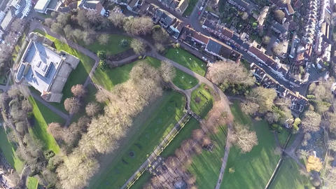 Flying over Colchester castle Footage