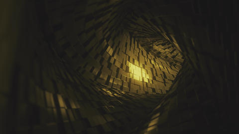 Flight through abstract tunnel made of golden bricks. Loopable 3D animation GIF