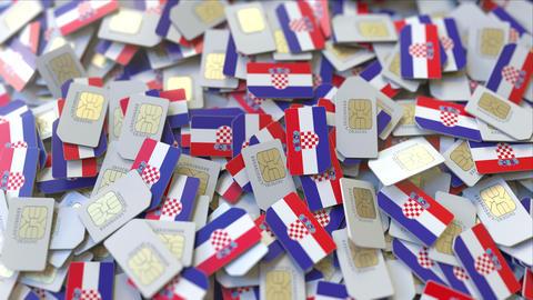 Multiple SIM cards with flag of Croatia. Croatian mobile telecommunications ビデオ