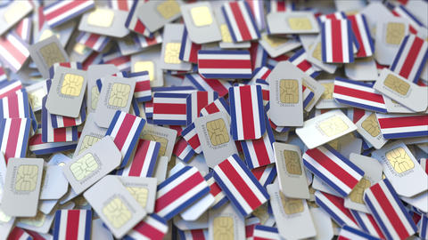 Multiple SIM cards with flag of Costa Rica. Costa Rican mobile ビデオ