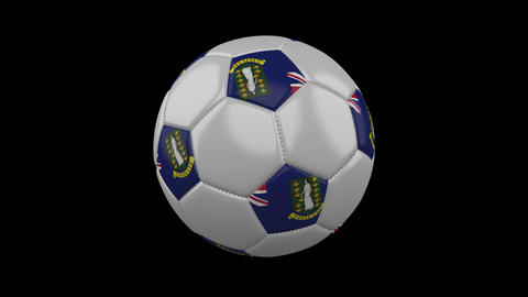Soccer ball with flag British Virgin Islands, 4k with alpha, loop Animation