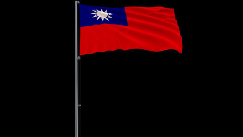 Flag Republic of China - Taiwan on transparent background, 4k prores 4444 footage with alpha Animation