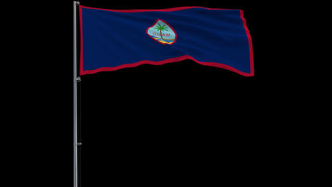 Flag Guam on transparent background, 4k prores 4444 footage with alpha Animation