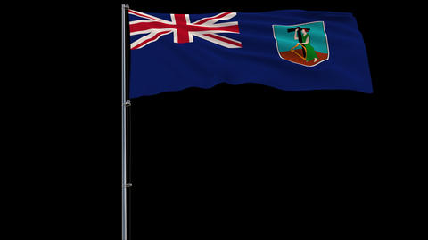 Flag Montserrat on transparent background, 4k prores 4444 footage with alpha Animation