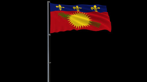 Flag Guadeloupe on transparent background, 4k prores 4444 footage with alpha Animation