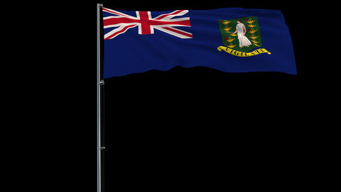 Flag British Virgin Islands on transparent background, 4k prores 4444 footage with alpha Animation