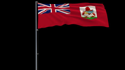 Flag Bermuda on transparent background, 4k prores 4444 footage with alpha Animation