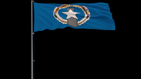 Flag Northern Mariana Islands on transparent background, 4k prores 4444 footage with alpha Animation