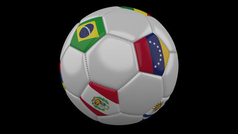 Soccer Ball with America Cup in Brazil 2019 flags, alpha loop Animation