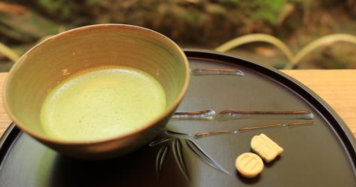 Japanese green tea at Hokokuji in Kamakura handheld Footage