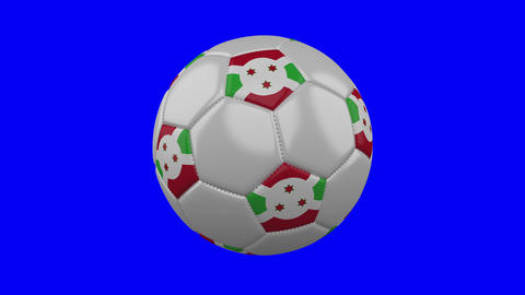 Soccer ball with Burundi flag on blue chroma key background, loop Animation