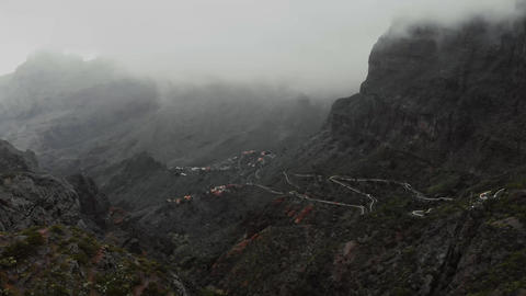 Clouds and mountains. Rainy weather in the canyon in the mountains, view from Footage