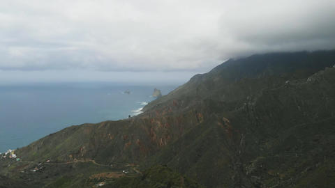 Aerial view of the north coast of Tenerife Island, Canary Islands, Spain Footage