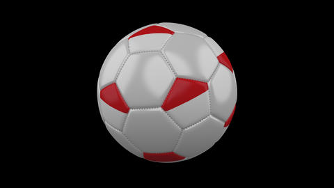 Soccer ball with flag Indonesia, loop, 4k with alpha Animation