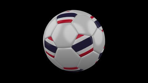 Soccer ball with flag Thailand, loop, 4k with alpha Animation