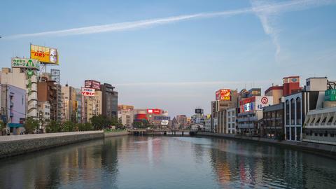 Fukuoka, Japan - April 18, 2019: Twilight view of Naka River in Hakata, Fukuoka, Japan time lapse Live Action