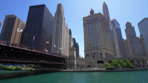 Architecture at Chicago River - CHICAGO. UNITED STATES - JUNE 11, 2019 Footage