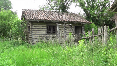 Abandoned hut and old wooden fence Footage
