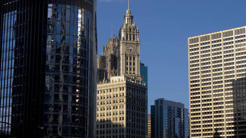 Famous Wrigley Building in Chicago - CHICAGO. UNITED STATES - JUNE 11, 2019 Footage