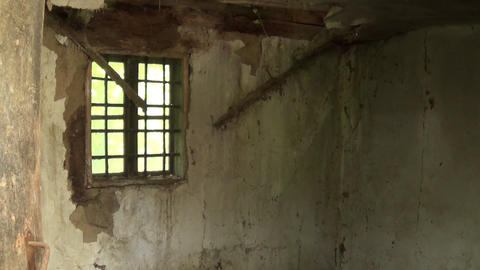 An old window with the interior of the abandoned house Footage