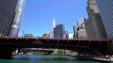 State Street Bridge over Chicago River - CHICAGO. UNITED STATES - JUNE 11, 2019 Live Action