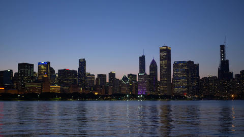 The beautiful skyline of Chicago in the evening - CHICAGO. UNITED STATES - JUNE Footage