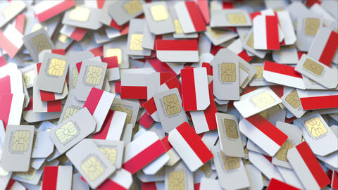 SIM cards with flag of Indonesia. Indonesian cellular network related conceptual ビデオ