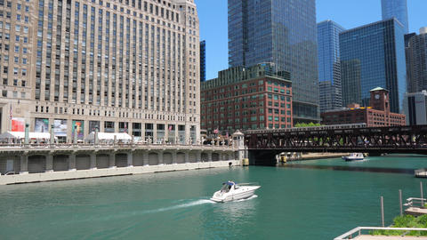Architecture at Chicago River - CHICAGO, UNITED STATES - JUNE 11, 2019 Footage