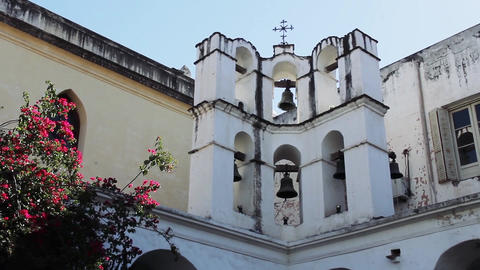 Old Bell Tower In A Catholic Church In Cordoba, Argentina Live Action