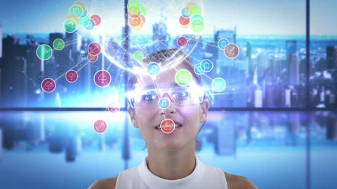 Smiling woman is using futuristic glasses Stock Video Footage