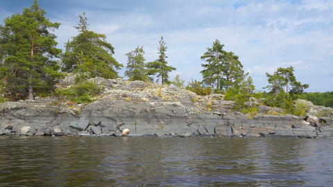 beautiful landscape on Ladoga lake in Karelia Footage